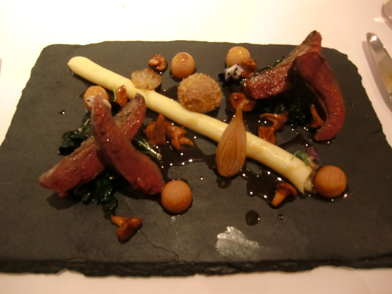 Plancha cooked pigeon breast at Lumiere 800x600